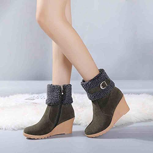 JiaMeng Botines Botas de tacón Alto para Mujer Ankle Botas de Moda Botas con Cierre de Hebilla con Cremallera Plataformas de tacón Alto Botas para la Nieve: ...