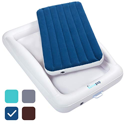 (hiccapop Inflatable Toddler Travel Bed with Safety Bumpers | Portable Blow Up Mattress for Kids with Built in Bed Rail - Navy Blue)