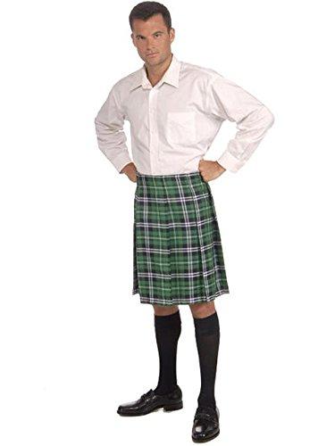 Forum St. Patrick's Day Kilt Costume, Green Plaid, One Size ()