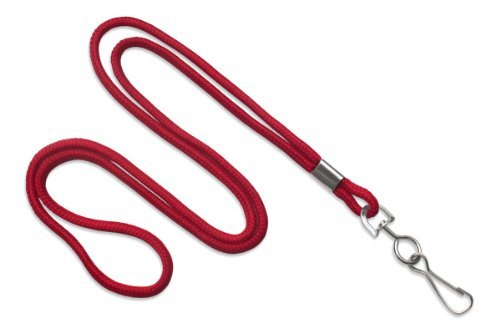 - Red 1/8 Round 36 Braid Non-Breakaway Lanyard, Swivel Hook (100/bag) by Brady People ID