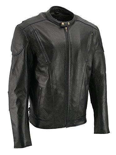 M-BOSS MOTORCYCLE APPAREL-MJ470T/1010T-BLACK-Tall men's cowhide leather motorcycle jacket.-BLACK-3XL-TALL ()