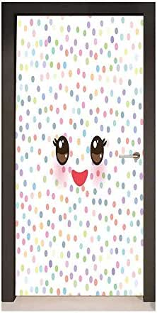 Homesonne Eyelash Decorative Door Sticker Kawaii Funny Muzzle with Pink Cheeks and Cute Eyes on Colorful Polka Dots Backdrop for Bedroom Decoration Multicolor,W36xH79