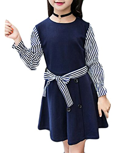 Fulok Girls Cute Round Neck Long Sleeve Swing A-Line Bow Tie Dress As Picture 6X by Fulok
