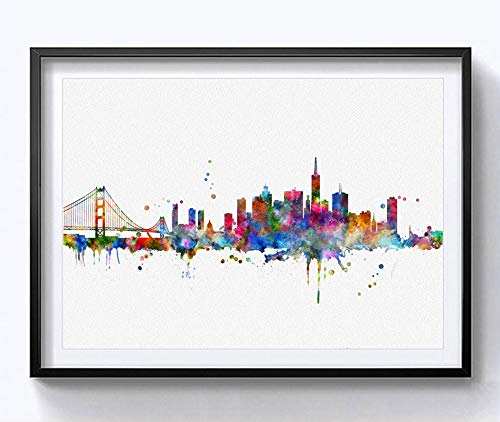 San Francisco Skyline City Poster Watercolor Painting Wall Hanging Skyline Wall Decor San Francisco Art Print Watercolor Fine Art Paper 8x10 inch No Framed (San Francisco City Wall Art)