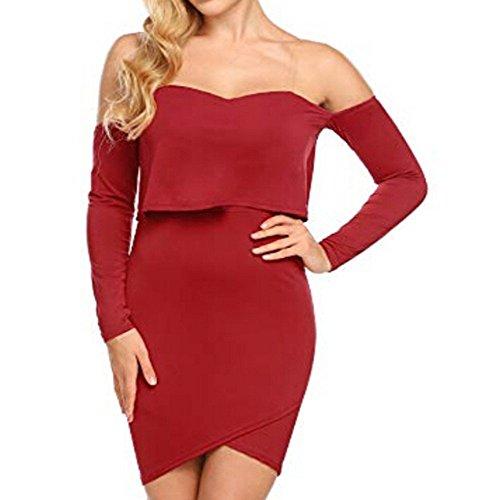 Robes Élégantes, Femmes Tunique Tête Tenue Décontractée Solide Du Bal À Manches Longues Épaule Mini-robes Rouge