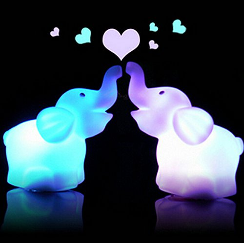 Fashionclubs 2pcs 7 Color Changing Elephant Night Light Lamp with Battery