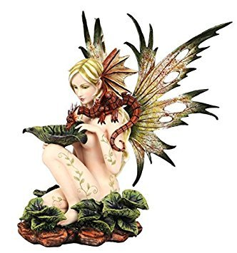 Dragon Statuette - 14.25 Inch Nude Winged Fairy with Dragon and Serpent Statue Figurine