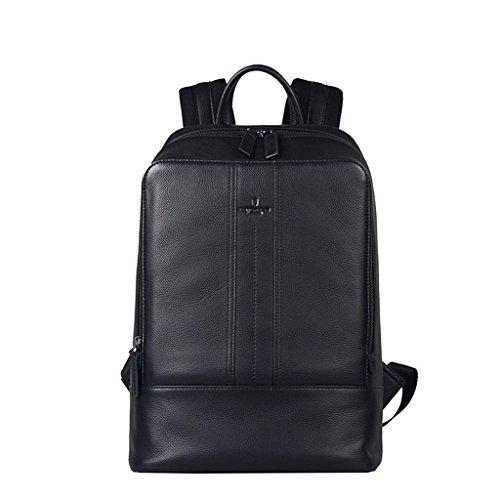 Couche d'en-tête de cuir Cuir fashion double épaule sacs à dos des élèves homme portable noir