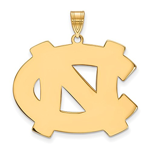 14k Yellow Gold North Carolina Tar Heels School Letters Logo Disc Pendant XL - (26 mm x 33 mm)