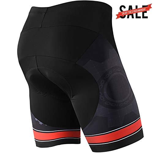 NOOYME (Lowest Price) Men's Cycling Shorts 3D Gel Padded Bicycle Riding Men's Bike Shorts (L, Red Gear)