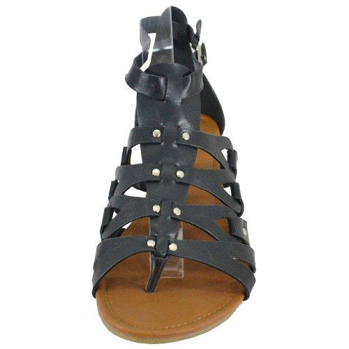 Bonnibel Donna Delphi-1 Open Toe Strappy Sandali Gladiatore Alla Caviglia, Neri