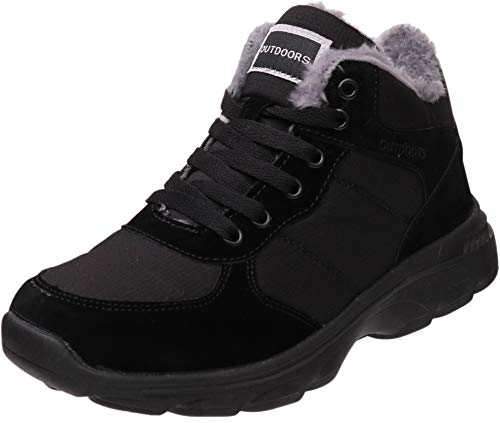 BRONAX Snow Shoes for Women Waterproof Warm Soft Sole Booties Cold Weather Comfort Fur Lined Fashion Short Ladies Insulated Lightweight Short Flat Ankle Winter Boots Sneakers Black Size 8 (Best Snow Skate Brand)