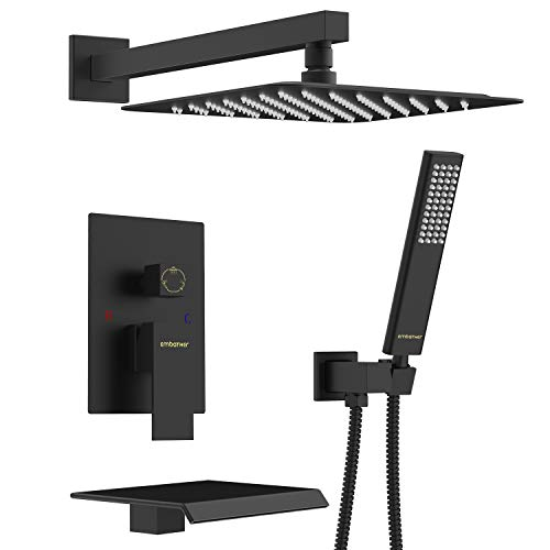 (EMBATHER Black Shower System with Waterfall Tub Spout 12 Inches Shower Tub Faucet Set Wall Mount with Square Rain Showerhead and Handhled(Included Rough-in Valve Body and)