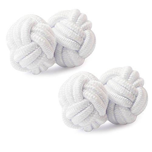 Honey Bear Silk Knot Cufflinks Fabric for Mens Shirt,Business Wedding Gift (White)