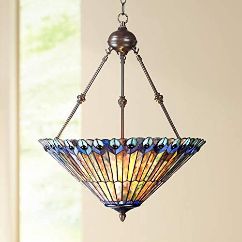 Peacock Glass Bronze Tiffany Pendant Chandelier 20″ Wide Modern Stained Glass 3-Light Fixture