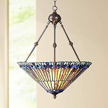 "Peacock Glass 3-Light 20"" Wide Tiffany Style Pendant Light - Robert Louis Tiffany"