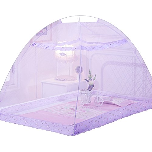 Pop-Up Mosquito Net Tent Baby Bed Canopy Indoor Outdoor Safety Insect Netting (Purple)