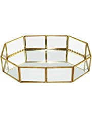 Vintage Glass Tray for Decoraive Vanity Perfume Jewelry Trinket Countertop Holder Dresser Cosmetic Organizer Ornate Bathroom Dish Display(Octagonal)