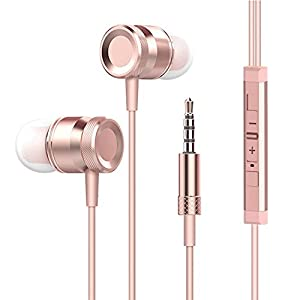Wired Headphone Metal Earbuds by Amasing Noise Cancelling Stereo Heave Bass Earphones With Micphone Mic with Volume Control,In Ear Headphones with Magnetic Design for Men for Samsung Iphone 5 6 Pink