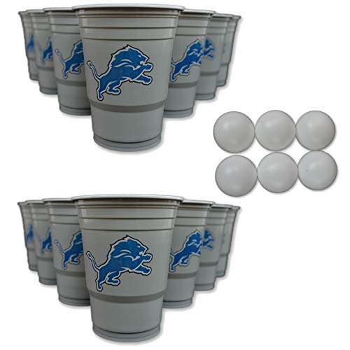 Siskiyou/Sport Mania NFL Fan Shop Beer Pong Set. Rep Your Favorite Team with The Classic Game of Beer Pong at Home or at The Tailgate Party - Comes with 22 Cups and 6 Ping Pong Balls (Detroit Lions)