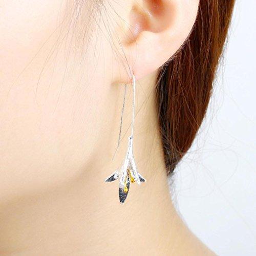 French Lily Hook (Fheaven Women Long Flower Earrings Silver Plated Lily Valley Dangle Drop Hook Earrings (Silver))