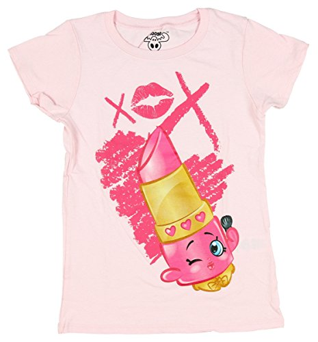 Shopkins Big Girls Shopkins T-Shirt (EXTRA SMALL (4/5), Light Pink-XOX Lippy Lips) (Collection Xox)