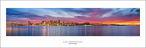 Award Winning Panoramic Art Print Poster #4- San Francisco Sunset, Golden Gate Bridge Panoramic Panorama