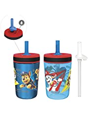 Zak Designs 15oz PAW Patrol Kelso Tumbler Set, Leak-Proof Screw-On Lid with Straw, Bundle for Kids Includes Plastic and Stainless Steel Cups with Additional Sipper (15oz, Paw Patrol- 3pc)