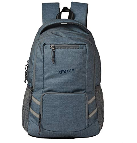 F Gear Intellect 32 Liters Laptop Backpack with Rain Cover (Melange Blue)