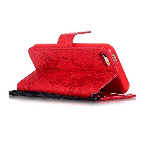 Voguecase® Pour Iphone SE Coque, Etui Housse Cuir Portefeuille Case Cover (Papillon IV-Rouge)de Gratuit stylet l'écran aléatoire universelle
