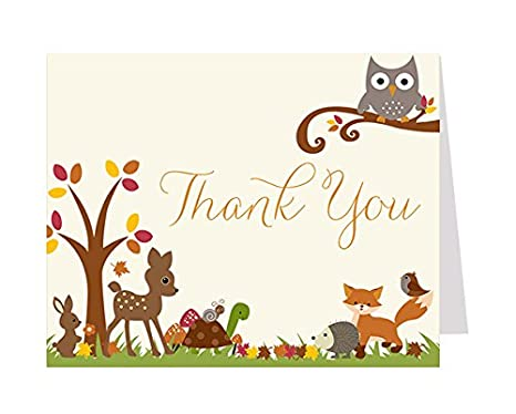 Amazon Com Thank You Cards Baby Shower Thank You Cards Forest