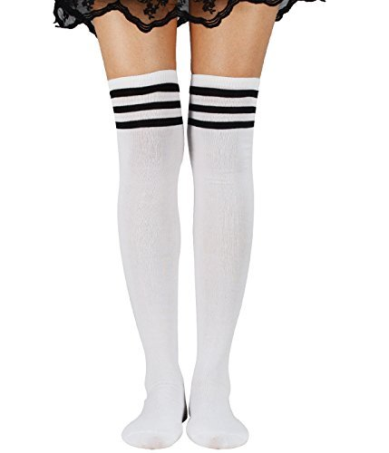 (Women Schoolgirls Thigh High Stockings Kawaii Cosplay Over Knee Uniform Casual Athlete Long Tube Dress Socks With Stripes Ravenclaw)