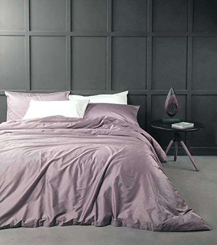 - Solid Color Egyptian Cotton Duvet Cover Luxury Bedding Set High Thread Count Long Staple Sateen Weave Silky Soft Breathable Pima Quality Bed Linen (Queen, Mauve)