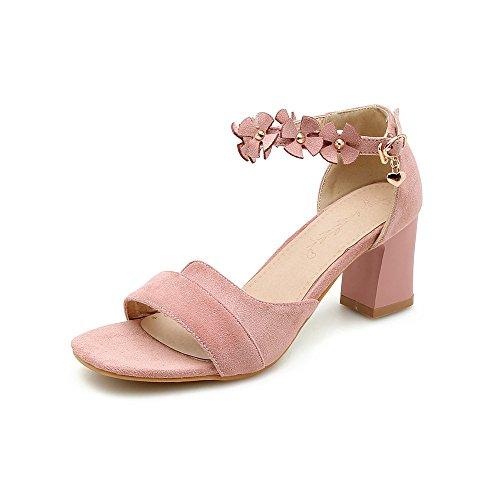 Open Femmes Grande épais Toe avec Chaussures Sandales à Tête Taille Boucle Pink Carrée Velours de ERvU45WU