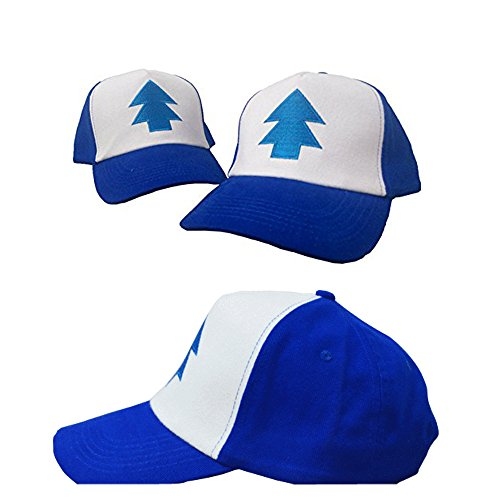 Mabel and Dipper Gravity Falls Cartoon New Curved Bill Blue Pine Tree love Cap Trucker Adjustable Baseball Hat (blue)