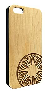 Genuine Maple Wood Organic Round Geometric Flower Snap-On Cover Hard Case for iPhone 5C