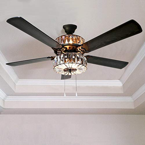 - Caged Crystal Ceiling Fan - Brown, Stylish and Functional, 6 Lights within the Upper and Lower Components, Convenient Pull Chains, Remote Control for Light Strength and Blade Speed, 3-speed Motor