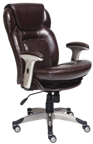 Serta Back in Motion Health and Wellness Mid-Back Office Chair, Frye Chocolate by Serta