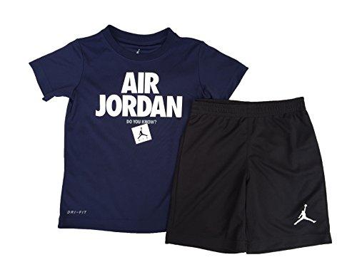 d5a5fe06b8f0 Galleon - NIKE Jordan Air Jordan Boy`s T-Shirt And Shorts 2 Piece Set  (Black(854789-023) Obsidian