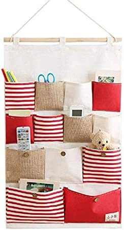Phononey 13 Tasche gestreifte Nähte hängen Tasche Mode Wandbehang mehrschichtige Lagerung hängen Tasche 1 Pc