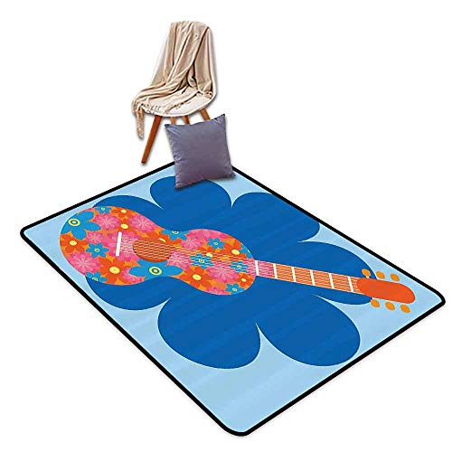 Colorful Square Rug 1960s Decorations Collection Flower Guitar Image Acoustic Musical Instrument Concert Theme Celebration Design Easy to Clean Blue Orange,W55 xL79