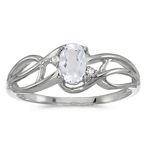 0.50 Carat ctw 14k Gold Oval White Topaz & Diamond Accent Swirl Design Bypass Fashion Promise Ring - White-gold, Size 5.5 - White Gold Oval Swirl