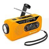 【Upgraded】 Runningsnail Emergency Weather AM/FM/NOAA Crank Radio with LED Flashlight, 2000mAh Power Bank with Headphone Jack & Charging Indicator for Emergency (Orange)