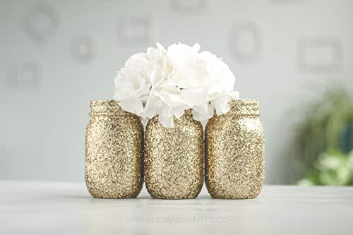 3 Gold Glitter Mason Jar Vases, Wedding Centerpieces, Bridal Shower