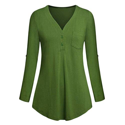 Blouses for Womens, FORUU Fashion Casual V Neck Roll up Sleeve Button Pocket Top