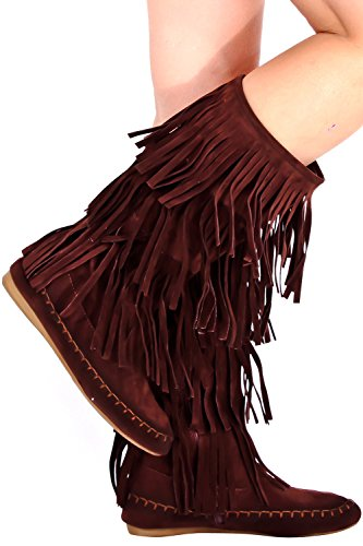 Lolli Couture Young Adidas Faux Suede Mocassino Stile Frangia Boot Brownc48