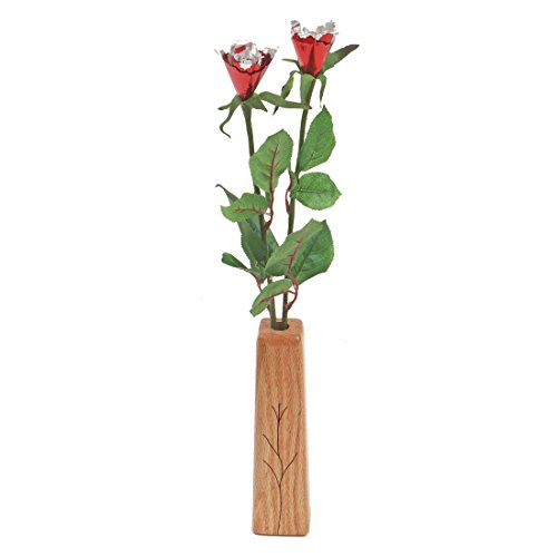 10th Wedding Anniversary gift 2-stem aluminum roses with vase
