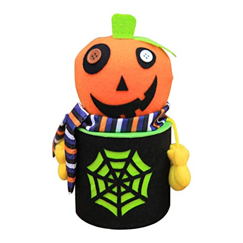 Halloween Candy Jar Tin Treat Cookie Sweet Storage Container Holder Canister Bucket Bin Gift Box for Halloween Party Supply Decoration - A