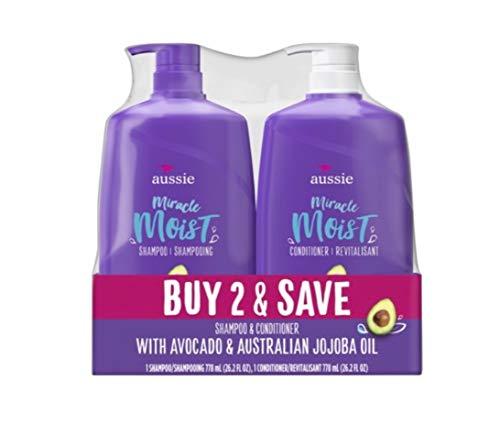 (Aussie Miracle Moist Shampoo & Aussie Miracle Moist Conditioner, 2-pack, 26.2 Fl. Oz ea.)