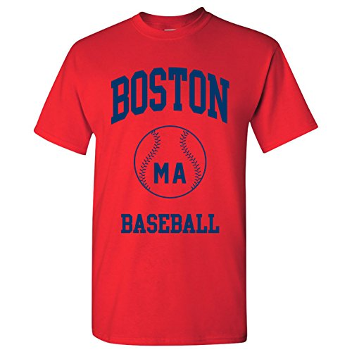 Boston Classic Baseball Arch Basic Cotton T-Shirt - Medium - Red